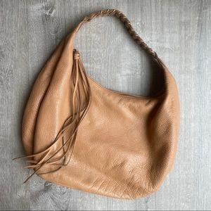 Camel Leather Braided Shoulder Bag Banana Republic